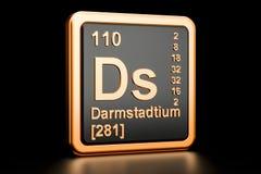 Elemento químico de Darmstadtium Ds rendição 3d Ilustração do Vetor
