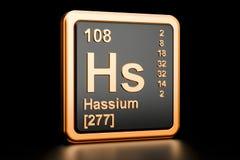 Elemento químico de Hassium HS rendição 3d ilustração stock