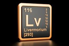 Elemento químico de Livermorium Lv rendição 3d ilustração do vetor