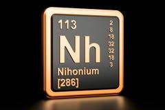 Elemento químico de Nihonium Nh rendição 3d Ilustração Royalty Free