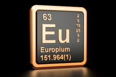 Elemento químico del Eu del europio representación 3d stock de ilustración