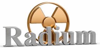 Elemento químico del radio con la radiación del símbolo Stock de ilustración