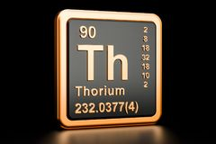 Elemento químico del Th del torio representación 3d Ilustración del Vector