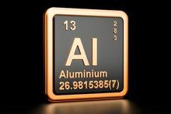 Elemento químico do Al de alumínio rendição 3d Ilustração Stock