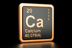 Elemento químico do cálcio Ca rendição 3d ilustração stock