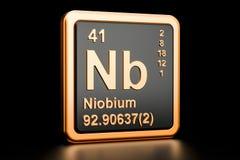 Elemento químico do nióbio N.B. rendição 3d ilustração stock