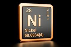 Elemento químico do Ni do níquel rendição 3d ilustração royalty free