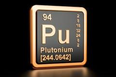 Elemento químico do plutônio do plutônio rendição 3d Ilustração do Vetor