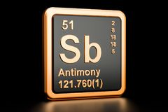 Elemento químico do stibium do Sb do antimônio rendição 3d ilustração stock