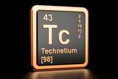 Elemento químico do Tc do Tc rendição 3d Ilustração Royalty Free