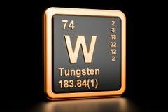 Elemento químico do volfrâmio de W do tungstênio rendição 3d Ilustração Stock