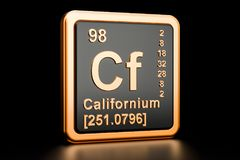Elemento químico dos Cf do califórnio rendição 3d ilustração stock