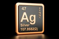 Elemento químico prata AG rendição 3d Ilustração do Vetor
