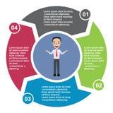 elemento in quattro colori con le etichette, diagramma infographic di vettore di 4 punti Un concetto di affari di 3 punti o opzio royalty illustrazione gratis