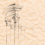 Elemento rchitectural do  de Ð em um papel amarrotado Fundo do vetor Foto de Stock Royalty Free