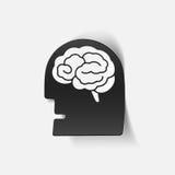 Elemento realístico do projeto: cérebro principal da cara Imagem de Stock