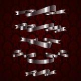 Elemento real de prata da fita do projeto no teste padrão vermelho Fotografia de Stock Royalty Free