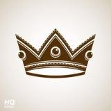 Elemento real do projeto, ícone régio Coroa majestosa do vetor, ilustração stock
