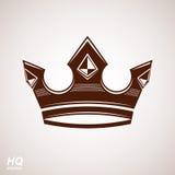 Elemento real do projeto, ícone régio Vector a coroa majestosa, ilustração estilizada luxo da coroa ilustração royalty free