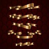 Elemento real dourado da fita do projeto com testes padrões Fotografia de Stock Royalty Free