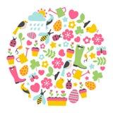 Elemento redondo del diseño con los iconos de la primavera Foto de archivo libre de regalías