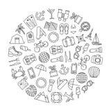 Elemento redondo del diseño con los iconos que viajan Foto de archivo libre de regalías