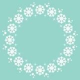 Elemento redondo del diseño del marco del invierno de la Navidad de los copos de nieve Foto de archivo