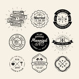 Elemento retro del diseño de la insignia del marco del logotipo de la boda del vintage Imágenes de archivo libres de regalías