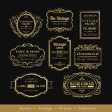 Elemento retro del diseño de la insignia del marco del logotipo del oro de Vinage Foto de archivo libre de regalías