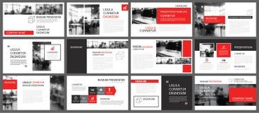 Elemento rojo y blanco para la diapositiva infographic en fondo prese stock de ilustración