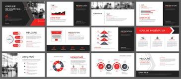 Elemento rojo y blanco para la diapositiva infographic en fondo prese ilustración del vector