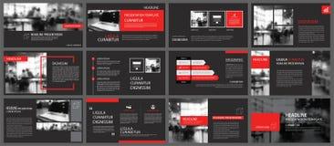 Elemento rojo y negro para la diapositiva infographic en fondo prese libre illustration