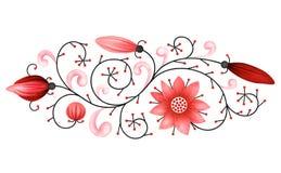 Elemento rosso decorativo su fondo bianco Fotografie Stock Libere da Diritti