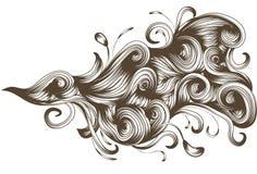 Elemento scorrente dettagliato disegnato a mano di turbinio illustrazione vettoriale