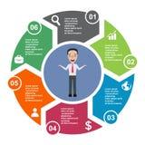 elemento in sei colori con le etichette, diagramma infographic di vettore di 6 punti Un concetto di affari di 6 punti o opzioni c royalty illustrazione gratis