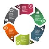 elemento in sei colori con le etichette, diagramma infographic di vettore di 6 punti Un concetto di affari di 6 punti o opzioni c illustrazione di stock