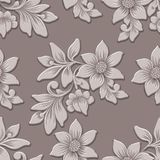 Elemento sem emenda do teste padrão da flor volumétrico do vetor O luxo elegante gravou a textura para fundos, textura sem emenda Imagem de Stock Royalty Free