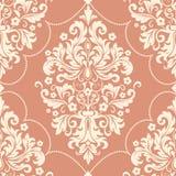 Elemento sem emenda do teste padrão do damasco do vetor Ornamento antiquado luxuoso clássico do damasco, textura sem emenda do vi Foto de Stock