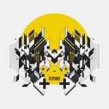 Elemento simmetrico astratto di progettazione sul cerchio giallo Fotografie Stock