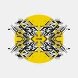 Elemento simmetrico astratto di progettazione sul cerchio giallo Fotografia Stock Libera da Diritti