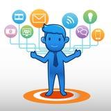 Elemento social del grupo del icono del hombre de negocios Imagen de archivo