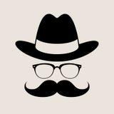 Elemento style, vidrios, sombrero y bigotes del inconformista Imagen de archivo libre de regalías