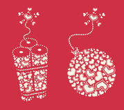 Elemento temático del diseño del día de tarjeta del día de San Valentín Imágenes de archivo libres de regalías