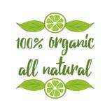 Elemento tipografico 100 prodotto biologico, tutta l'etichetta naturale su fondo bianco Immagine Stock