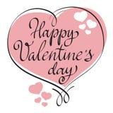 Elemento tirado mão Valentine Day feliz do projeto de cartão e quadro dado forma coração ilustração do vetor