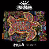 Elemento étnico do projeto do vetor indians MOLA Art Form Mola Style Turtle Ilustração decorativa brilhante de Ethno Fotografia de Stock