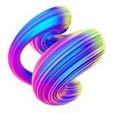 Elemento torcido fluido do projeto da forma com cores holográficas na moda ilustração do vetor