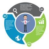 elemento in tre colori con le etichette, diagramma infographic di vettore di 3 punti Un concetto di affari di 3 punti o opzioni c illustrazione di stock