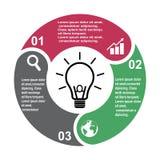 elemento in tre colori con le etichette, diagramma infographic di vettore di 3 punti Un concetto di affari di 3 punti o opzioni c royalty illustrazione gratis