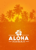 Elemento tropicale di progettazione di vettore di Aloha Hawaii Creative Summer Beach Immagini Stock Libere da Diritti